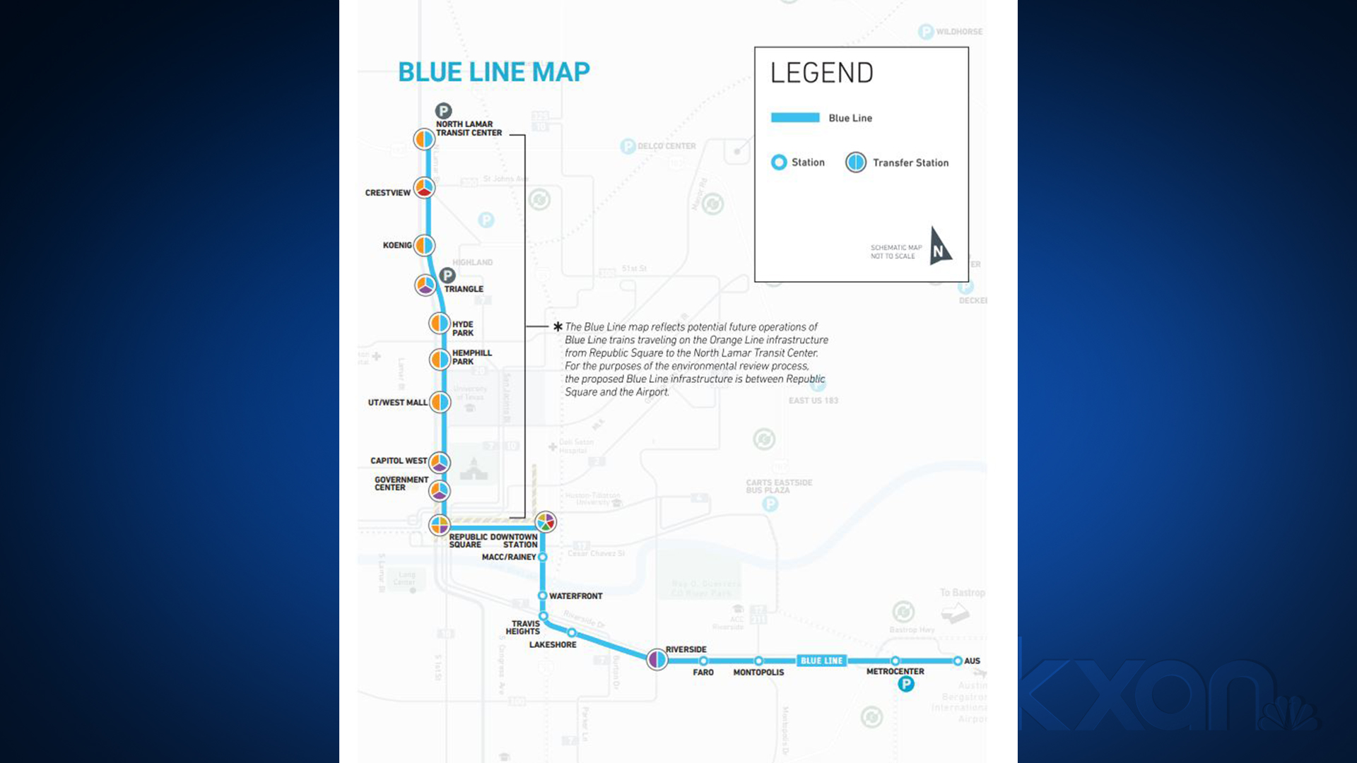 A map of the proposed Blue Line light rail route that connects downtown with areas of east Austin and the airport. (CapMetro graphic)