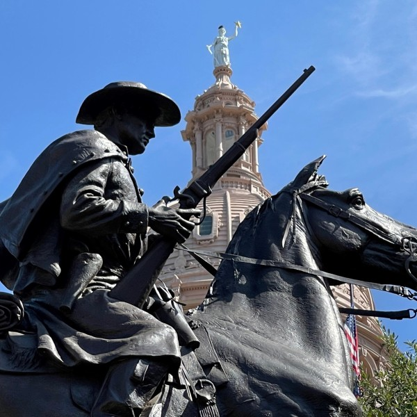 Terry's Texas Rangers Monument with the State Capitol in the background. (Josh Hinkle/KXAN)