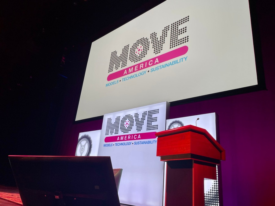 MOVE America 2021 is a conference centered around mobility, connectivity and urban transport. The two-day event, running on Tuesday and Wednesday, featured 400 speakers, 500 companies and more than 3,000 registered attendees. (KXAN Photo/Kelsey Thompson)