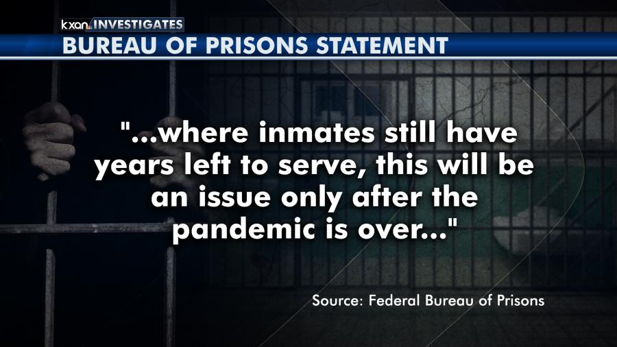 Bureau of Prisons statement (KXAN graphic)