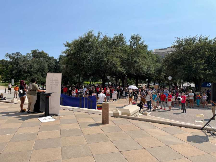 Civil rights organizations rallied for Human Rights on 9/11/2021 on the south steps Capital. (KXAN Photo/Tim Holcomb)