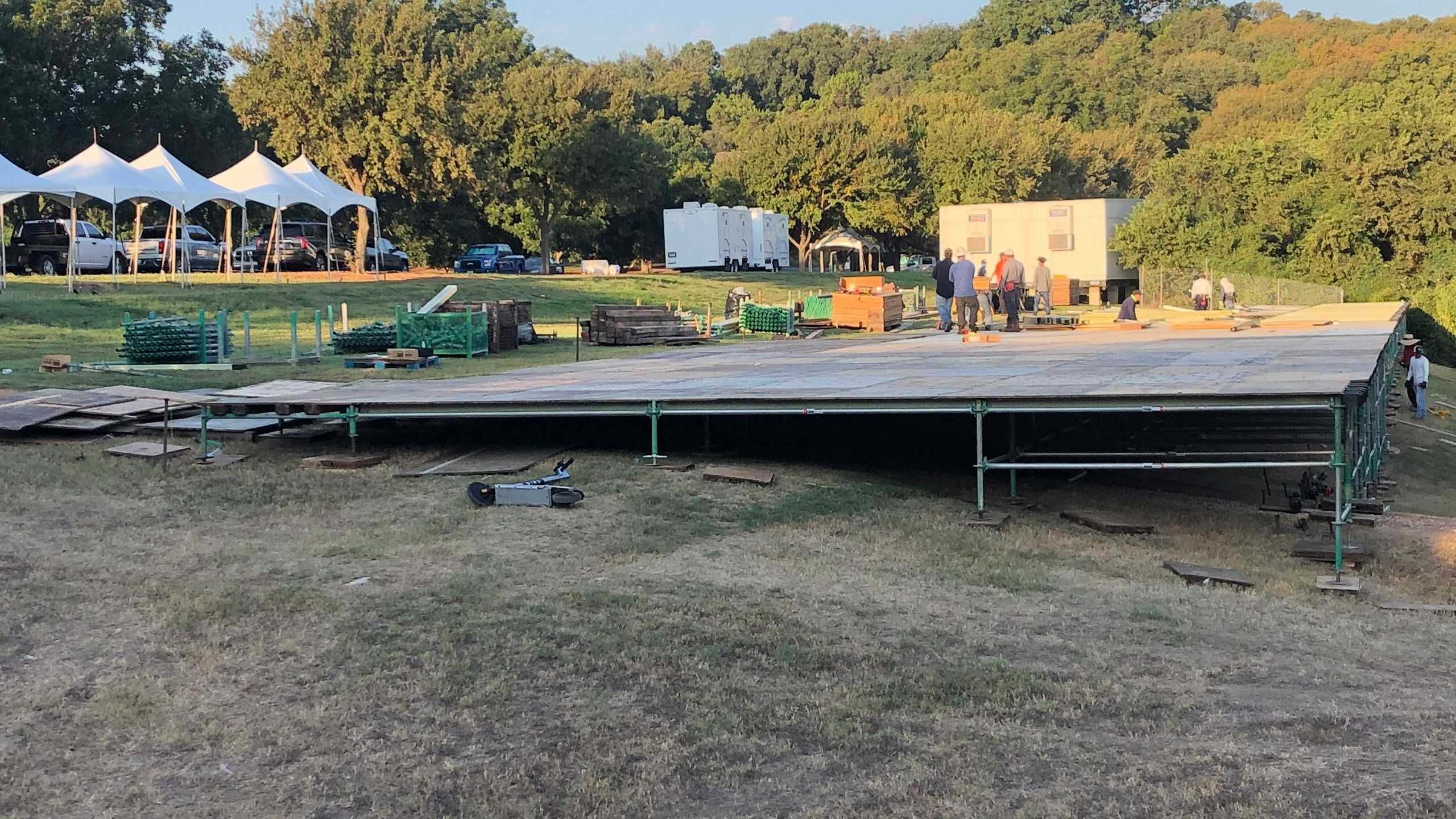 Work has begun to transform Zilker Park into the ACL Fest venue, but the city still hasn't approved the music festival's permit yet. (KXAN photo/Frank Martinez)