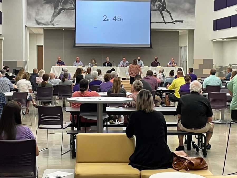 Marble Falls ISD held a school board meeting Sept. 8, 2021. There they discussed the mask mandate and voted to repeal it. (KXAN Photo/Tim Holcomb)
