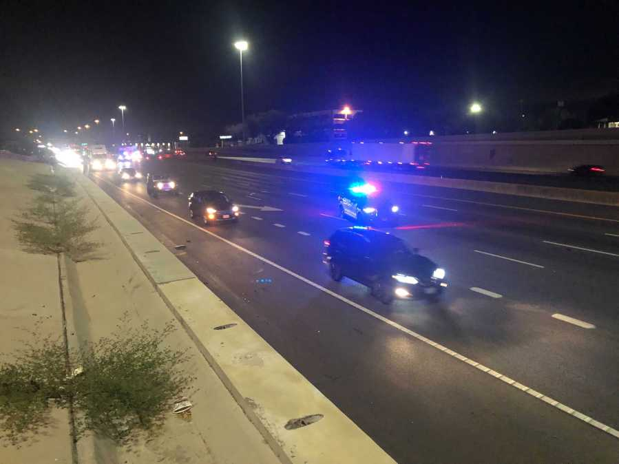 Two 18-wheelers crashed and closued lanes on I-35 northbound Tuesday in south Austin. (KXAN photo/Julie Karam)