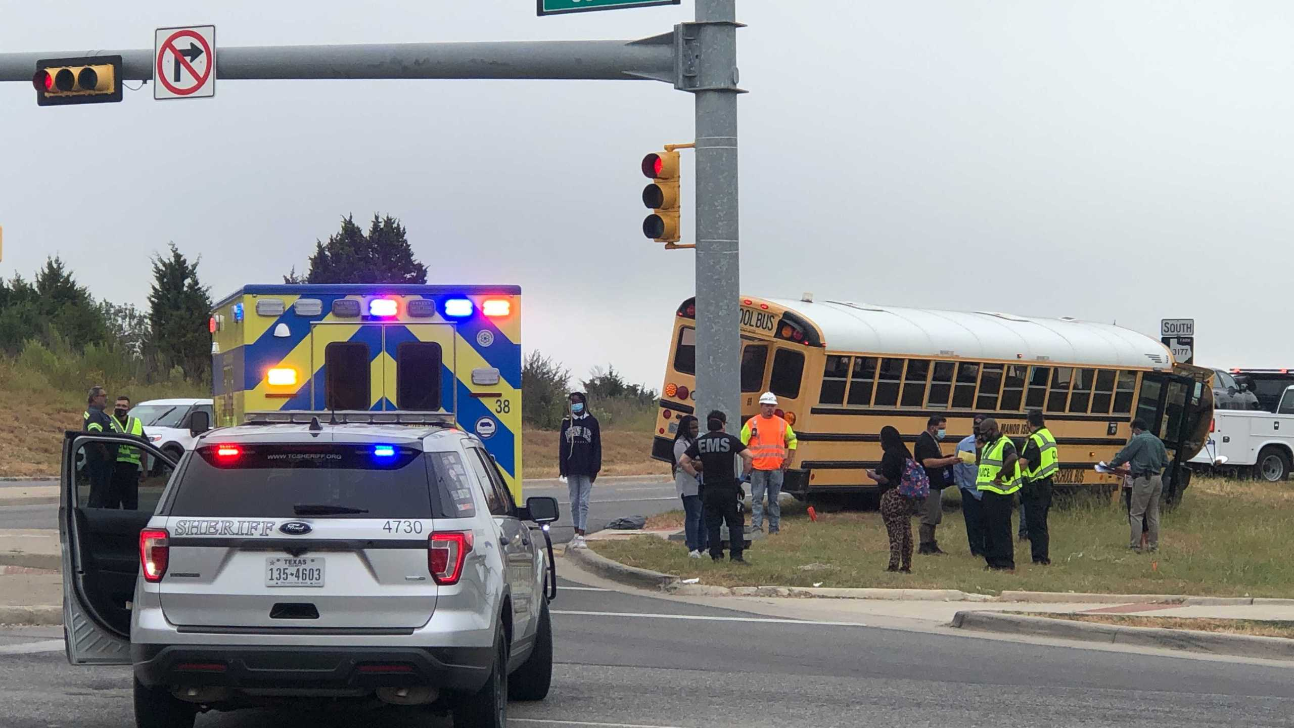 A Manor ISD bus was involved in a crash Tuesday in eastern Travis County. (KXAN photo/Frank Martinez)