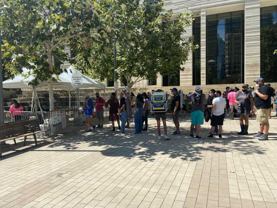 The line to get onto the shuttle at Republic Square as of Friday afternoon. (KXAN Photo/Grace Reader)