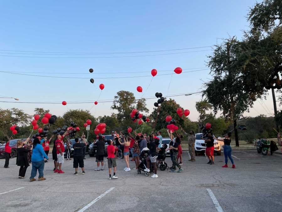 Cornelia Moore's family held a balloon release in her memory at Zilker Park on Sept. 9, 2021. She was shot and killed in a road rage incident. (KXAN Photo/Tim Holcomb)