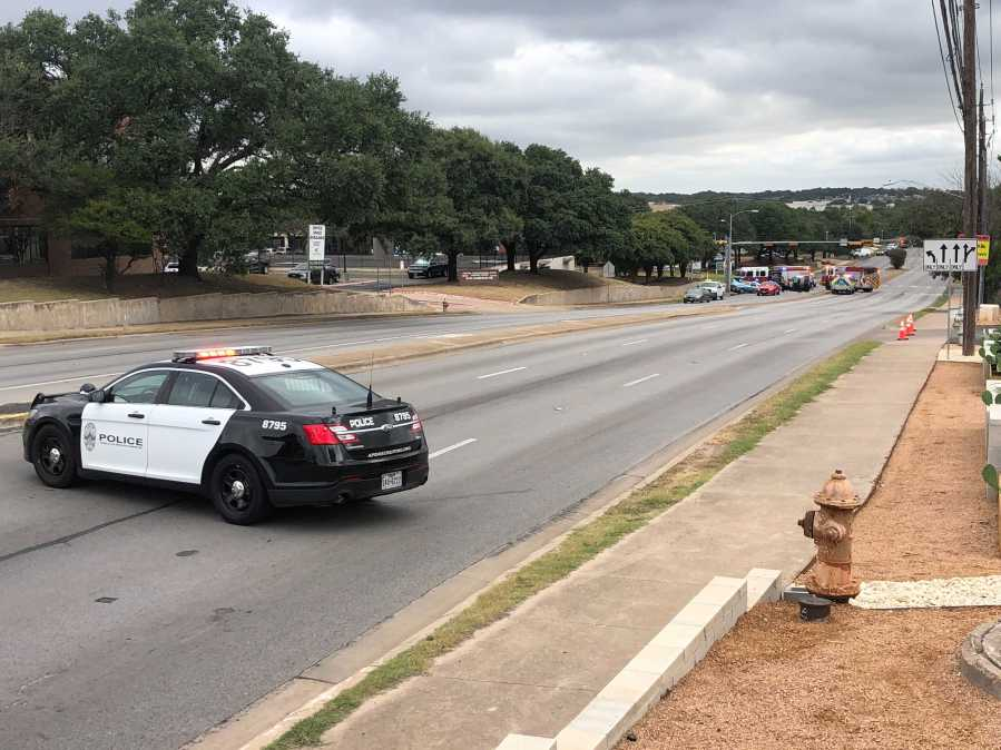 A person was shot and it led to a car crash Tuesday in north Austin near the intersection of Cameron Road and Rutherford Lane. (KXAN photo/Frank Martinez)