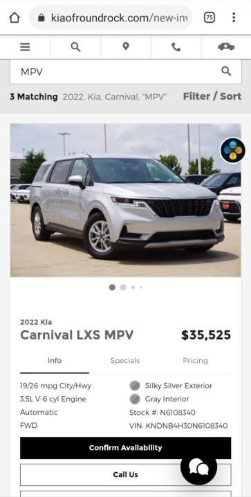 Tiffany Wilson captured a screenshot on July 21 from Kia of Round Rock listing the minivan at a $35,525 (Courtesy Tiffany Wilson)