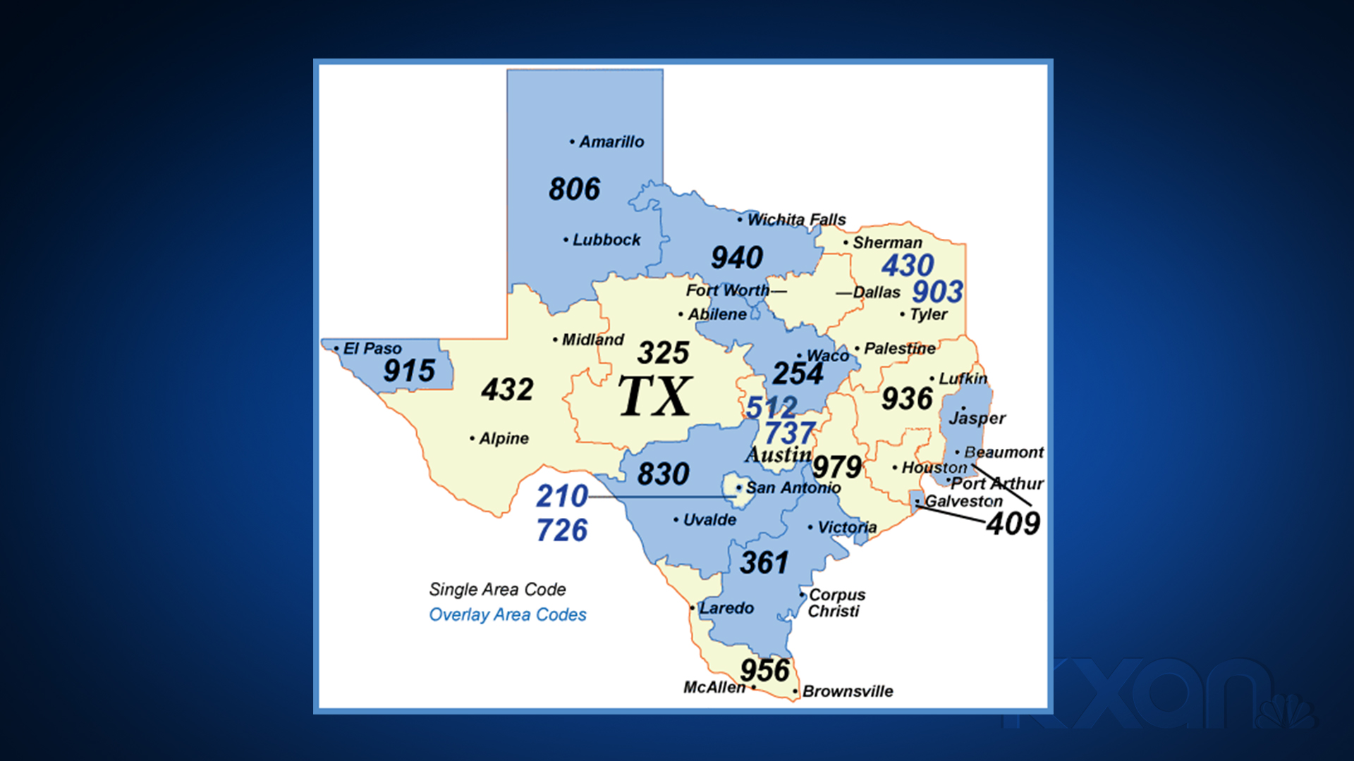 A map from the North American Number Plan Administrator shows the area codes shaded in blue that will have to use 10-digit dialing for local calls by Oct. 24