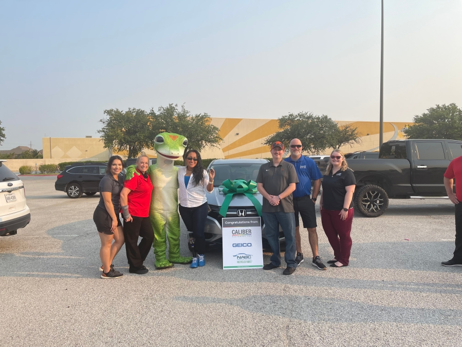 San Marcos Police Officer Claudia Cormier, who lost a leg while on duty two years ago, was honored and presented with keys to a newly refurbished vehicle from Caliber Collision and GEICO. (Courtesy Caliber Collision)