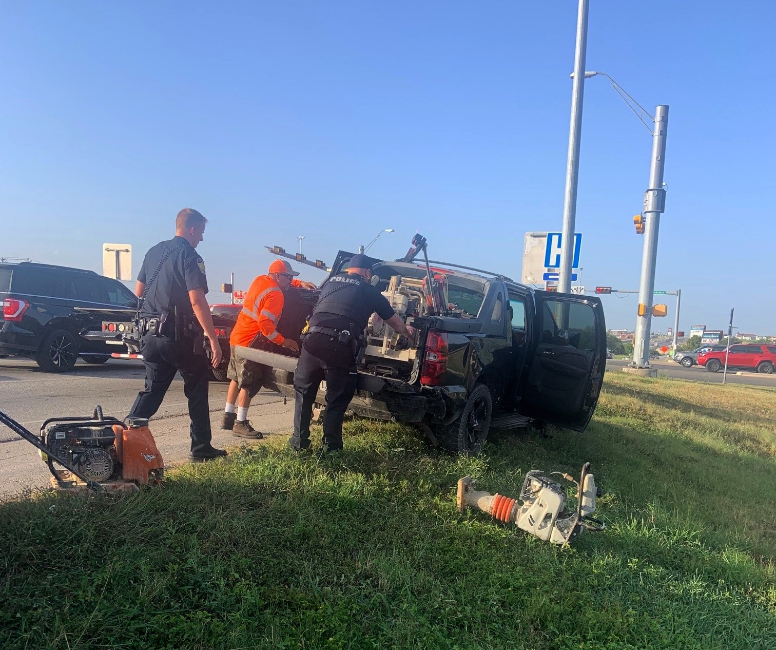 The suspect's vehicle exited I-35 at the 215 mile marker and crashed into a light pole at Kyle Parkway. (City of Kyle Photo)