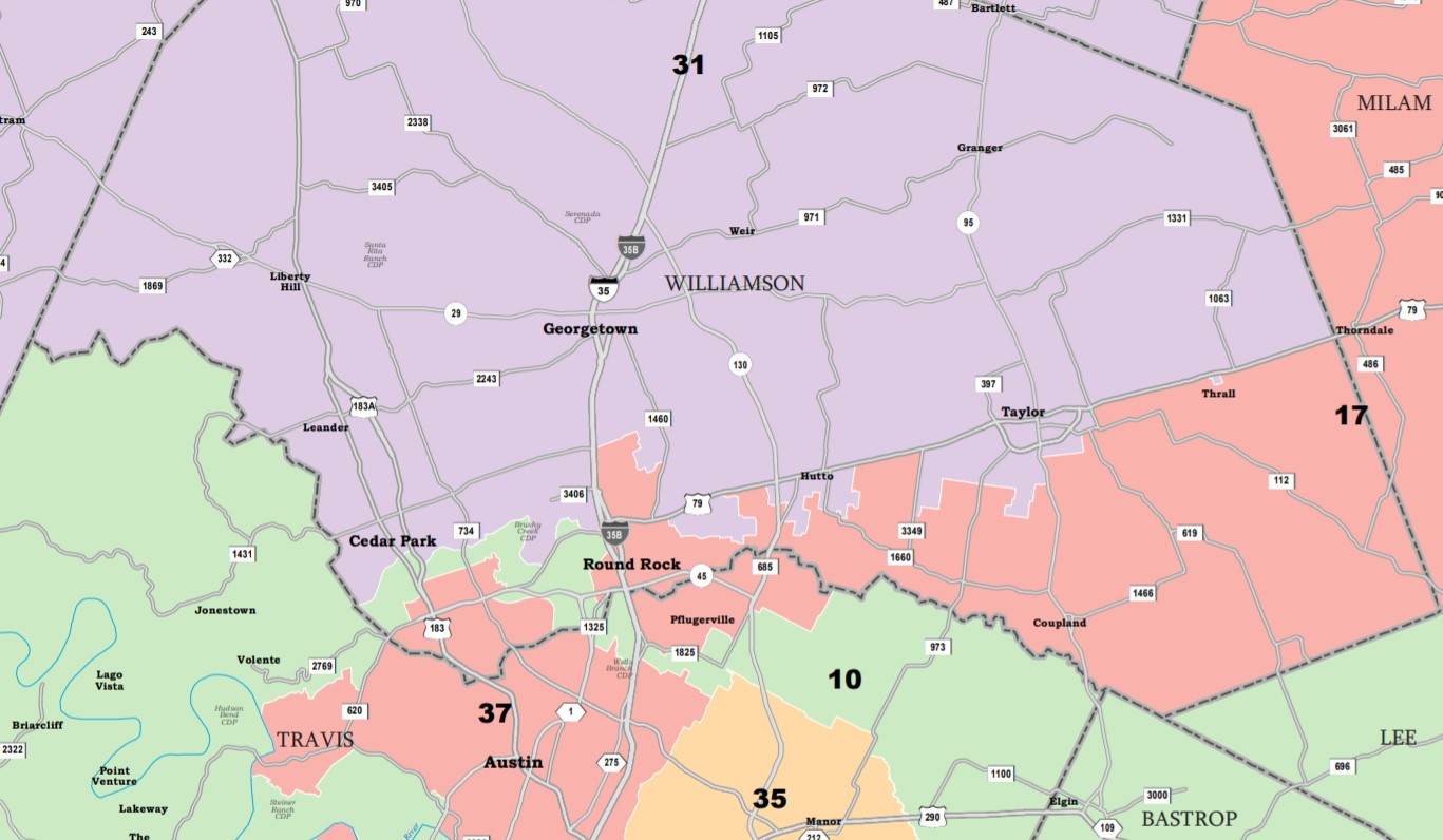 Map shows proposed boundaries for Williamson County