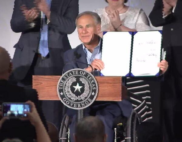 Gov. Greg Abbott signed the Damon Allen Act on Sept. 13. The act prohibits the release of people charged with violent crimes on personal or cash bond. (Courtesy KPRC)