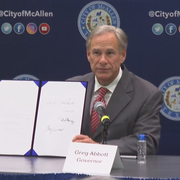 Gov. Greg Abbott signed Senate Bill 578 into law during a ceremony in McAllen. The bill enhances penalties against human smugglers.
