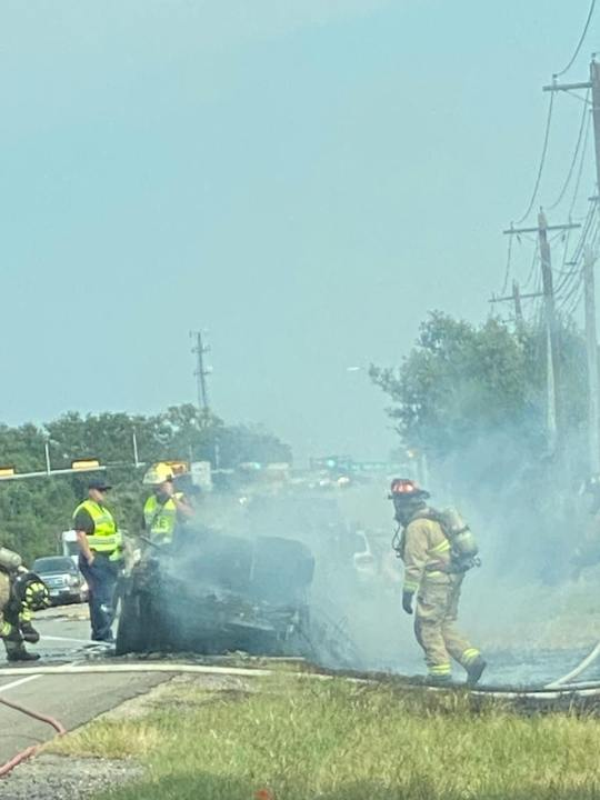 The Williamson County Sheriff's Office said a Liberty Hill ISD bus driver pulled out into an intersection causing a fiery crash. (Courtesy: KXAN Viewer/Misti Scales)