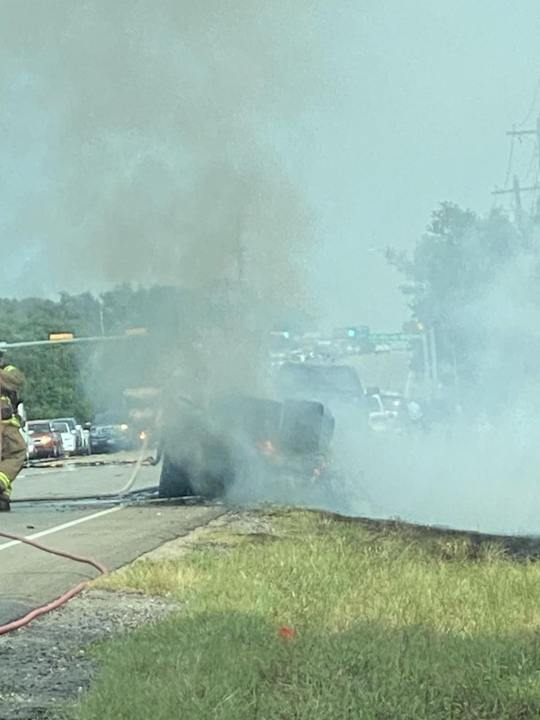 The Williamson County Sheriff's Office said a Liberty Hill ISD bus driver pulled out into an intersection causing a fiery crash. (Courtesy: Viewer photo)