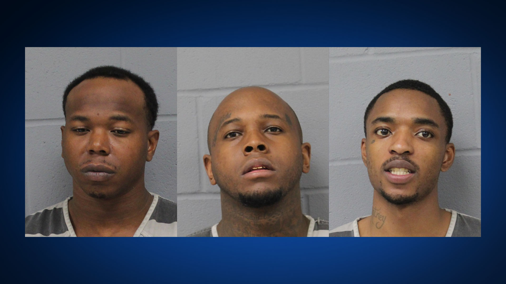 FROM LEFT TO RIGHT: Bobby McVade, 33, Laderious Nicholson, 28, Cory Burdett, 23 (Travis County Jail Photos)