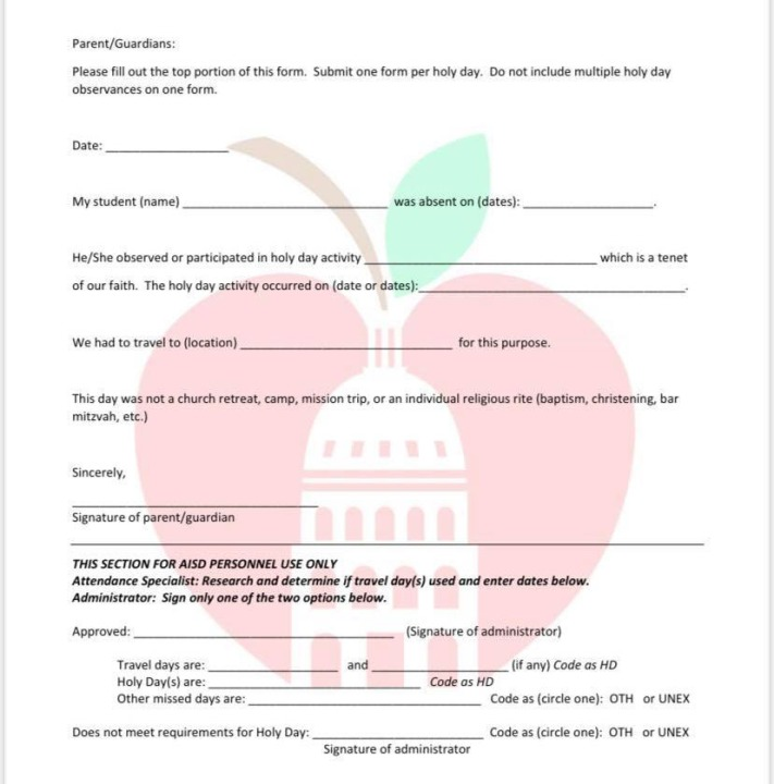 Austin ISD form asking parents if their student was absent on Rosh Hashanah