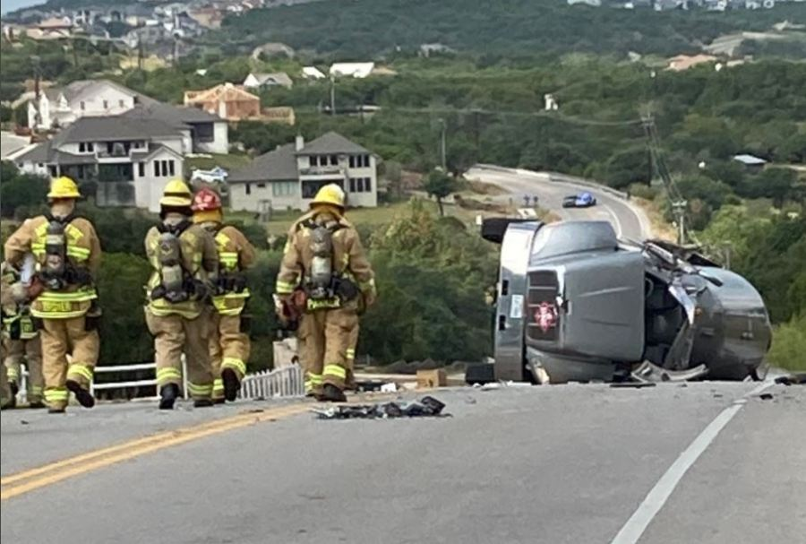 An overturned propane truck on Flintrock Road Sept. 30, 2021 (Lakeway Police Department Photo)