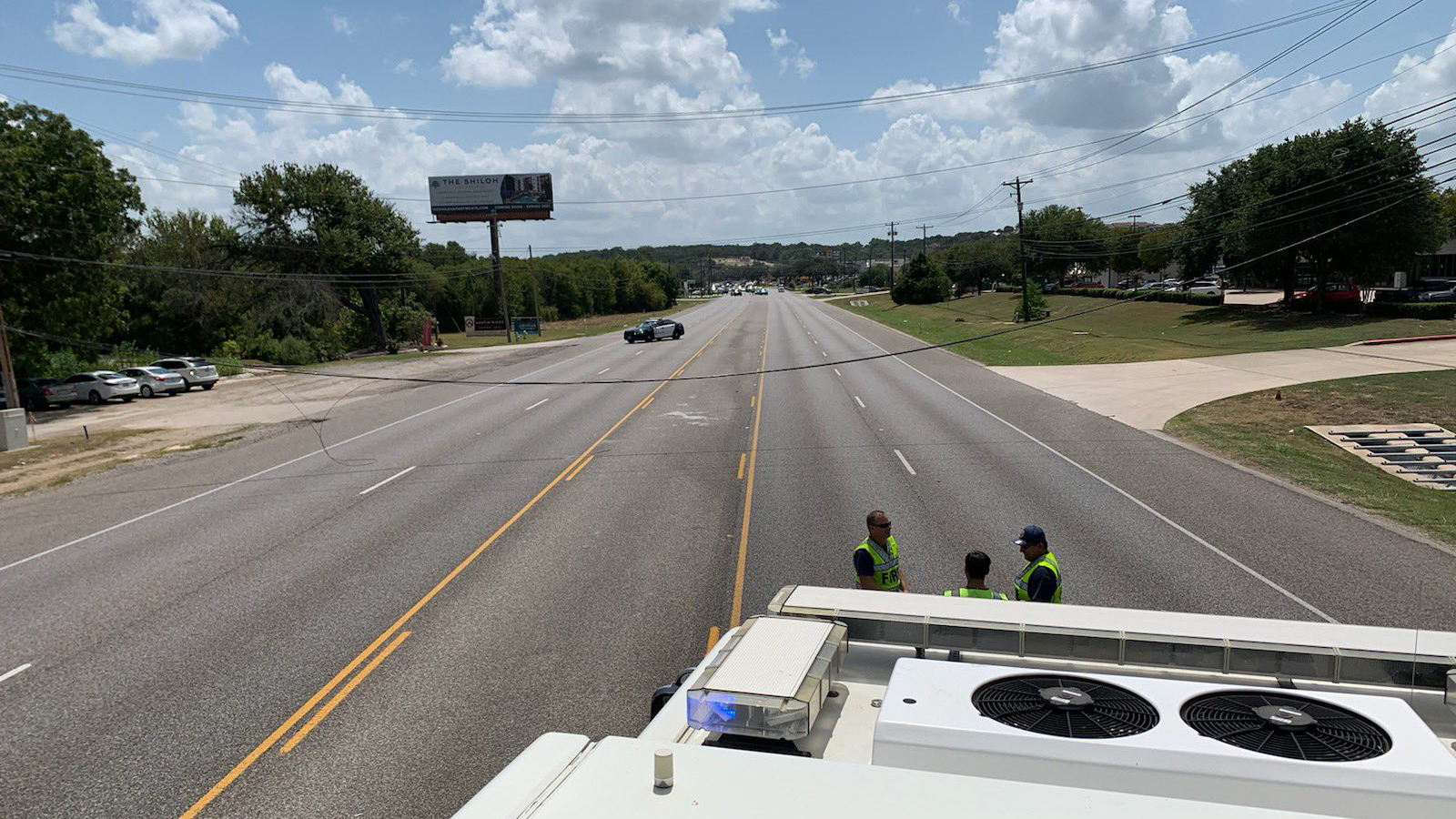 SH 71 near Oak Hill is closed in both directions due to low hanging power lines. Avoid the area while crews fix them, Austin Fire said. (AFD photo)