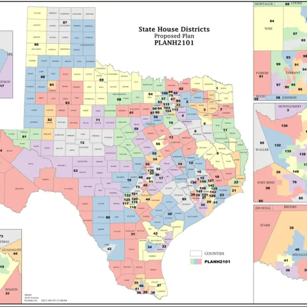 The first draft of the redistricted map of Texas House districts. (Source: Texas Legislative Council)
