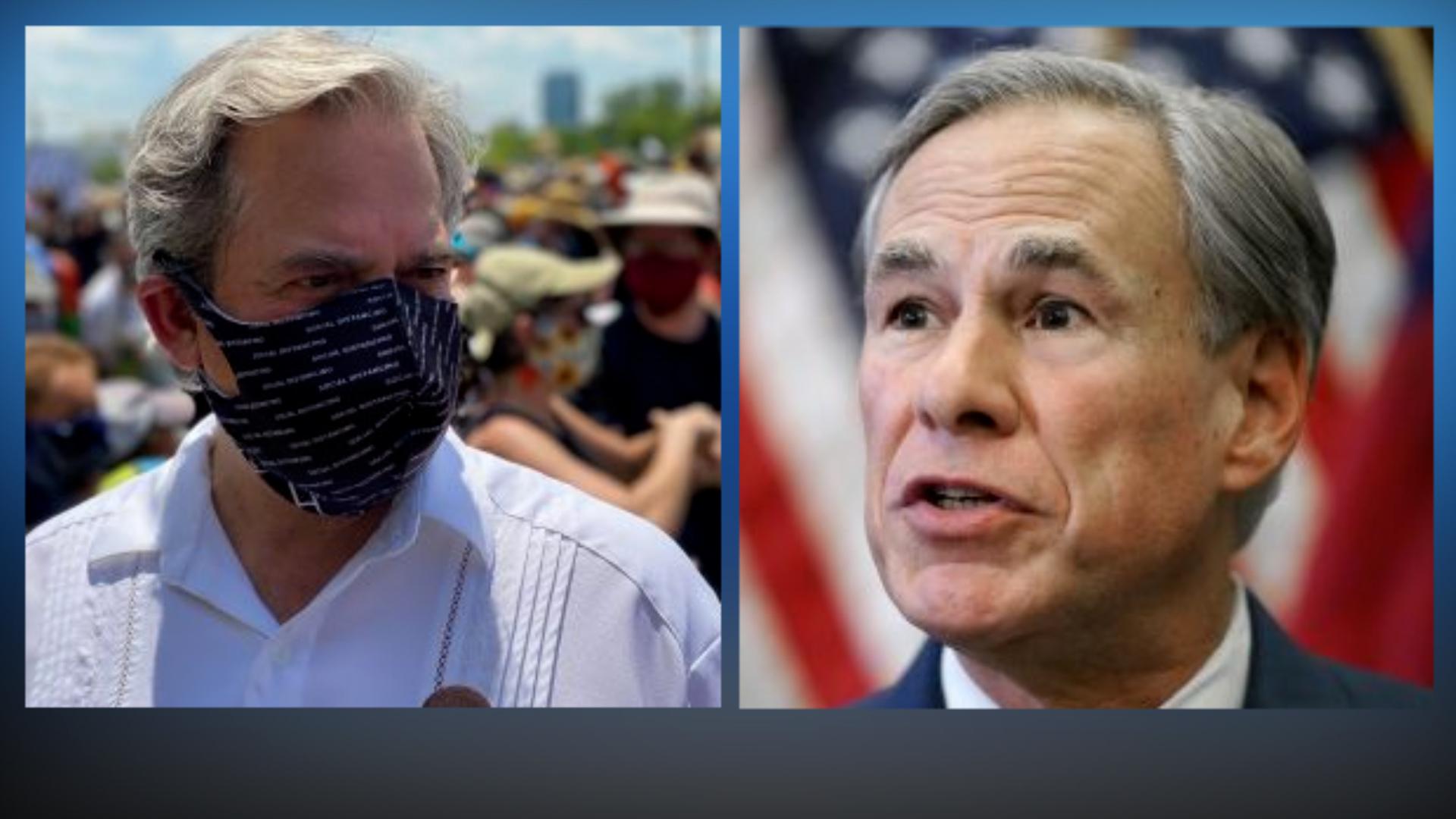 Left, Austin Mayor Steve Adler. Right, Texas Governor Greg Abbott.