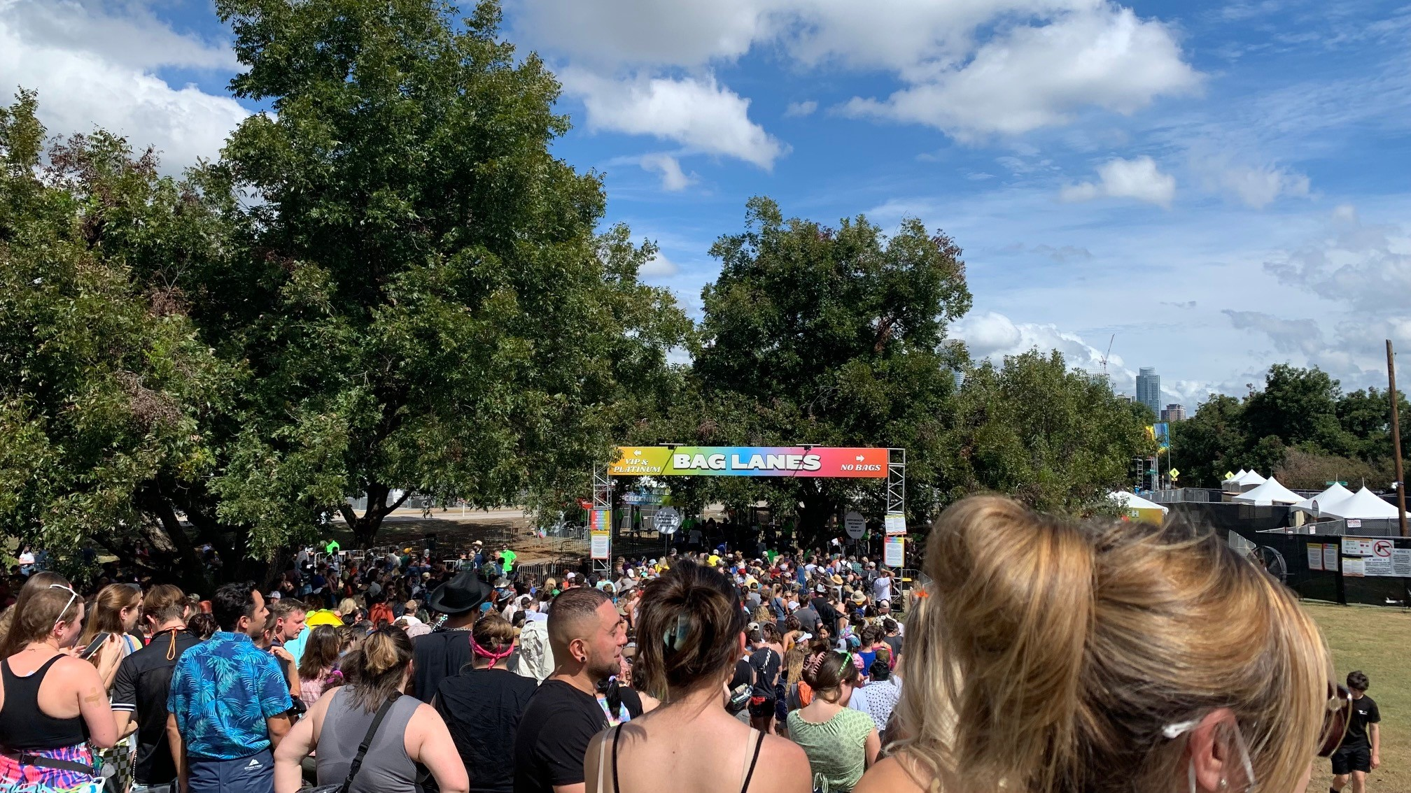Photo of the crowd gathered to enter the 2021 Austin City Limits Music Festival