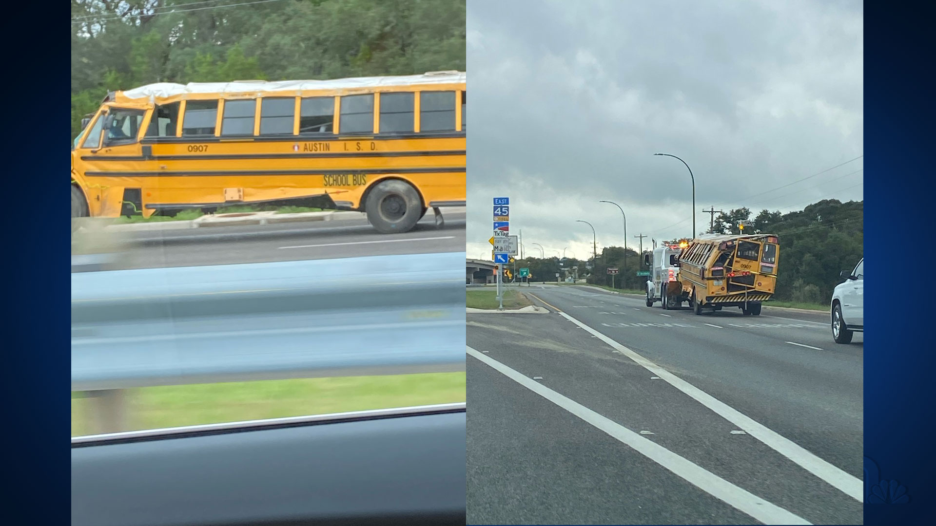 Photo shows a damaged Austin Independent School District bus after a crash in southwest Austin
