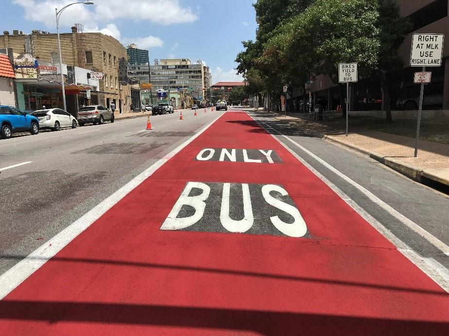 Austin, Capital Metro red transit priority lanes