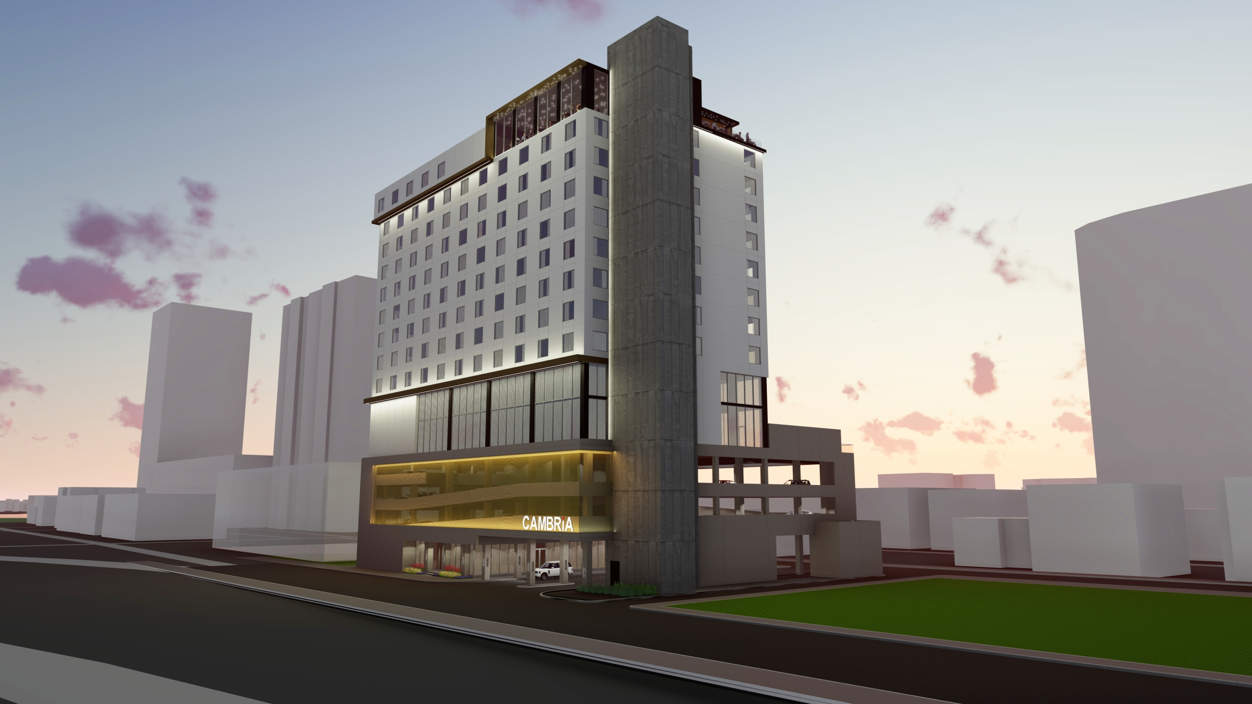 Schematic of new Cambria Hotel coming to Rainey Street Historic District in downtown Austin