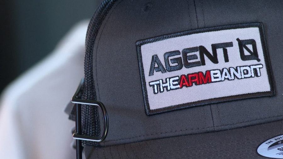 """""""Agent 0"""" hat designed by DeMarvion Overshown and the Last Stand Hats team. (KXAN Photo/Tahera Rahman)"""