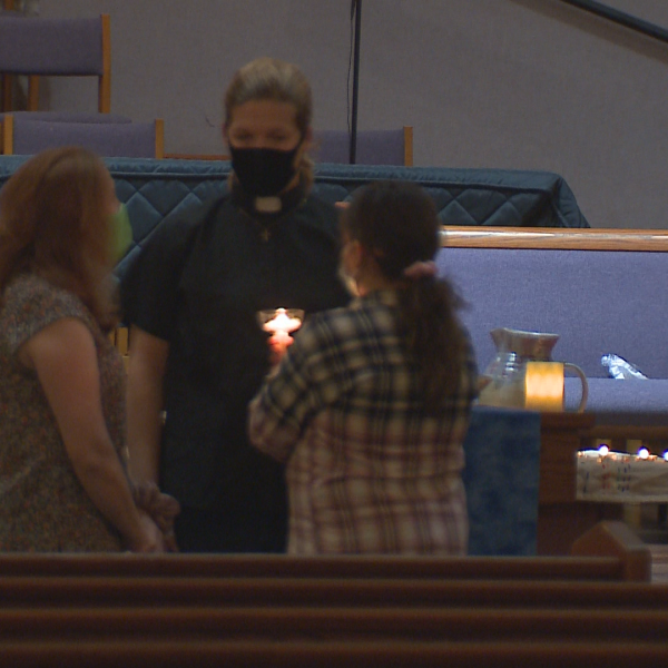 About 250 people gathered at Hope Presbyterian Church for a vigil in remembrance of Vanessa Neves, who was shot and killed Tuesday at her home in northwest Austin. (KXAN photo)