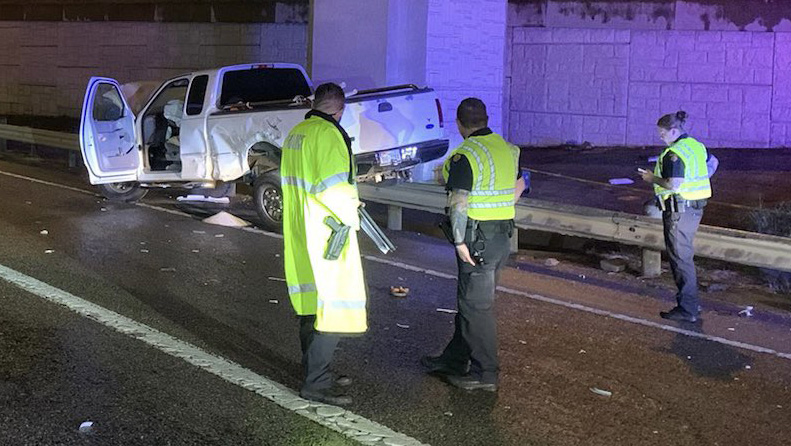 1 person died and 2 others were injured in a crash with an 18-wheeler Tuesday morning on I-35 in Round Rock. (Round Rock Police photo)