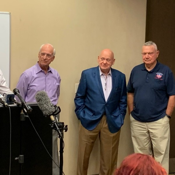 Photo of a news conference held by Save Austin Now