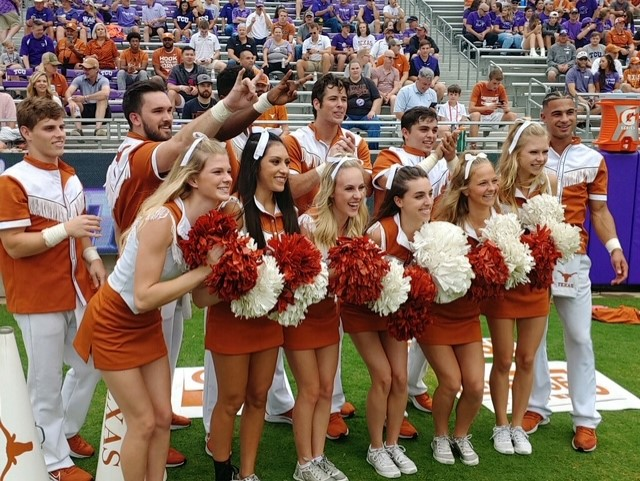 The Texas Longhorns during pregame ahead of a Big 12 Conference showdown with TCU in Fort Worth. (KXAN photo/Jonathan Thomas)