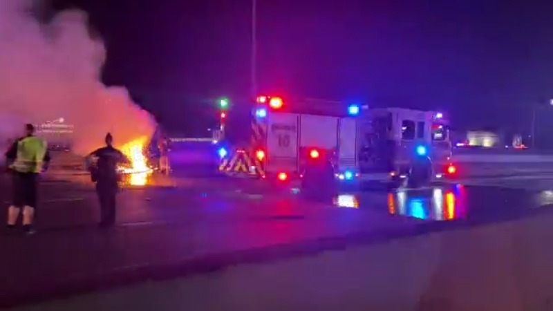 A vehicle and semi collided on I-35 near 51st Street the night of Oct. 25, 2021, according to Austin-Travis County EMS (Courtesy: Aaron Waldock)