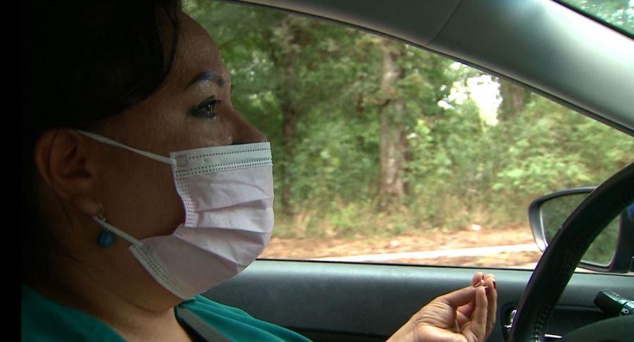 Acuña speaks with KXAN as she drives through Onion Creek Metropolitan Park Thursday (Photo/Tim Holcomb)