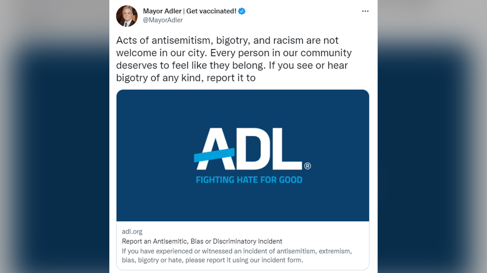 Austin Mayor Steve Adler spoke out against the anti-Semitic banners hung on the Far West overpass above MoPac on social media Tuesday afternoon. (screenshot via Twitter)