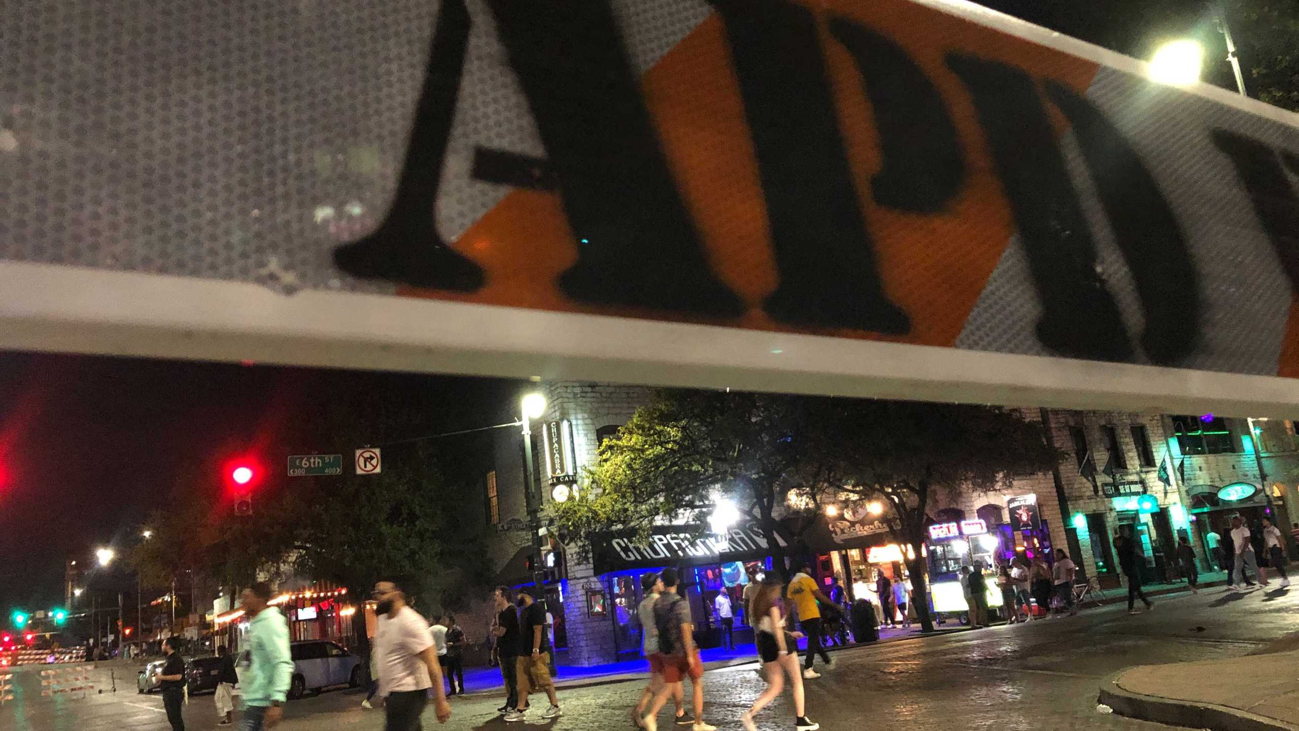An APD barrier on 6th Street