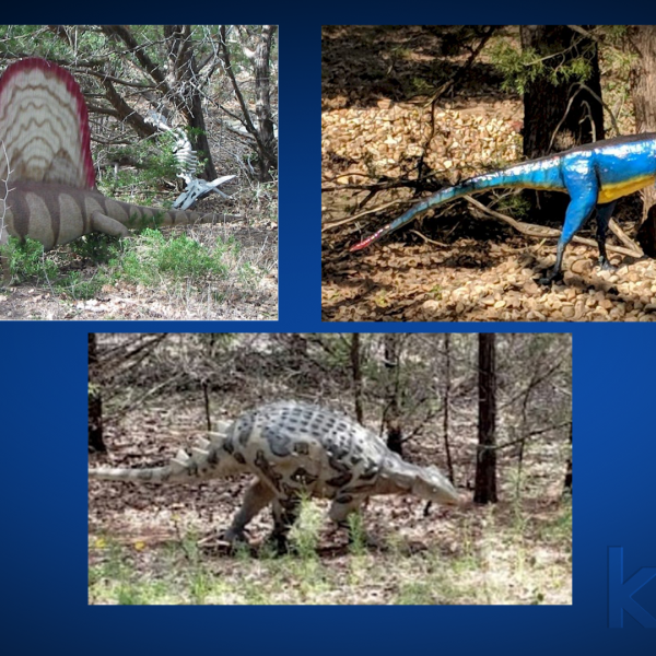 Statues from The Dinosaur Park were stolen Oct. 20, and park officials are offering a $1,000 reward for any information that leads to prosecuting the people who stole them (Photos courtesy of The Dinosaur Park's Facebook page)