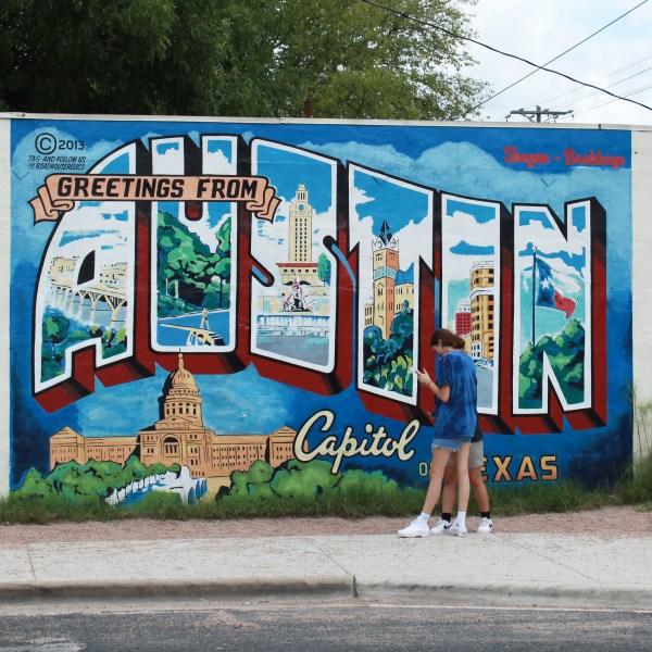 """Greetings from Austin"" mural in south Austin (KXAN Photo/Jaclyn Ramkissoon)"
