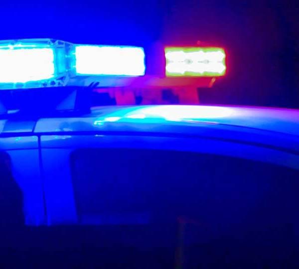Close up photo of flashing police lights