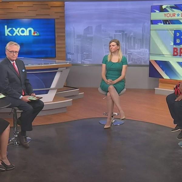 KXAN anchors Britt Moreno and Robert Hadlock discuss Austin Proposition B with Distrct 8 Council Member Paige Ellis and District 3 Council Member Pio Renteria on Oct. 13, 2021 (KXAN Photo)