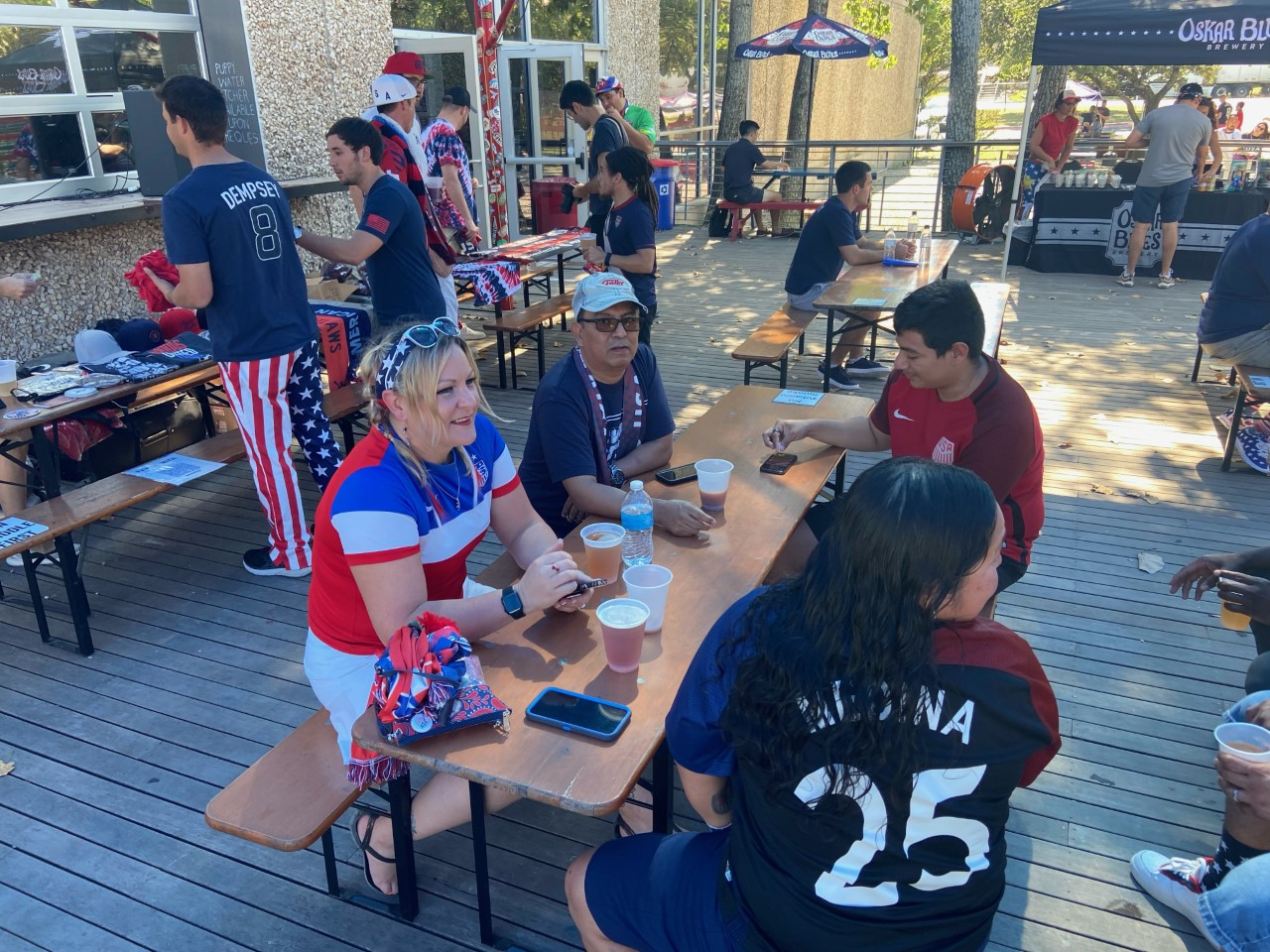 Fans gather before the U.S. versus Jamaica game