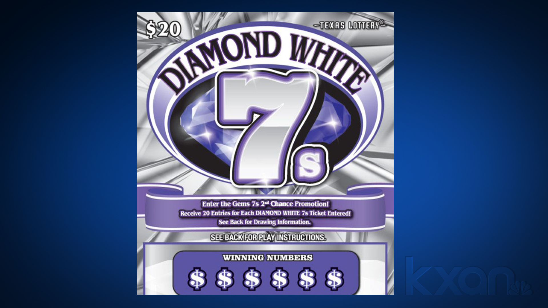 A Pflugerville resident won $1 million on the Diamond Whites 7s scratch ticket game from the Texas Lottery (Photo courtesy of the Texas Lottery)