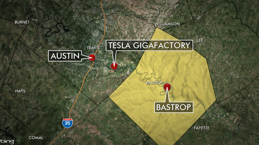 This KXAN map shows where Tesla's new gigafactory is, in relation to Bastrop County.
